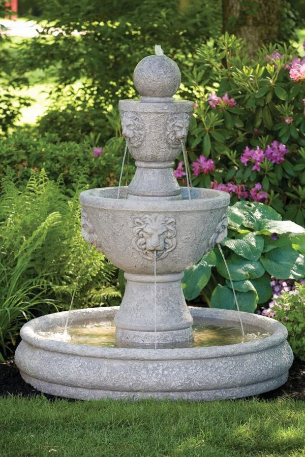 "#3586 57"" Gabriel Lion Head Fountain on Pool"