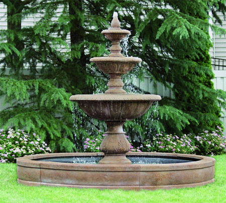 "#3731 88"" Windley Key Fountain with Surround and 8' Fiberglass Pool"