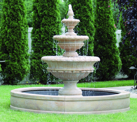 "#3722 72"" Chanticleer Fountain with Surround and 6' Fiberglass Pool"