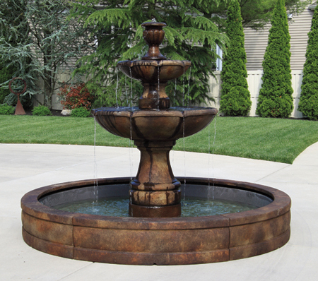 #3758 Two Tier Charlotte Fountain with Surround and 8' Fiberglass Pool