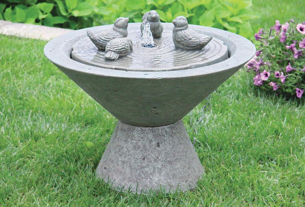 #3805 Funneled Fountain with Birds on Pedestal