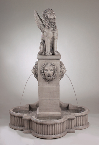 "#3454  68"" Winged Lion Fountain"