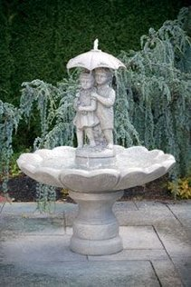 #3310 SINGLE TIER LARGE GIRL AND BOY UNDER UMBRELLA FOUNTAIN