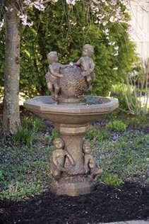 #3431 CHERUBS ON VINE SPHERE FOUNTAIN