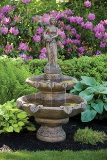#3445 TWO TIER LARGE GIRL HOLDING JUG FOUNTAIN