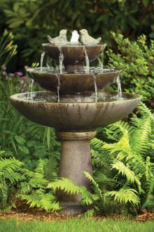 "#3700 44"" Tranquillity Spill Fountain With Birds"