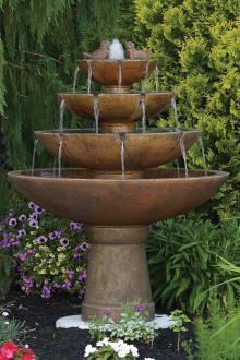 "#3698 53"" Tranquillity Spill Fountain With Birds"