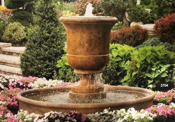 "#3690 40"" Cento Urn with Surround and 6' Fiberglass Pool Fountain"
